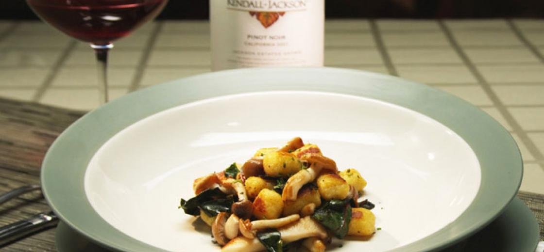 Potato Gnocchi with Mushrooms and Swiss Chard