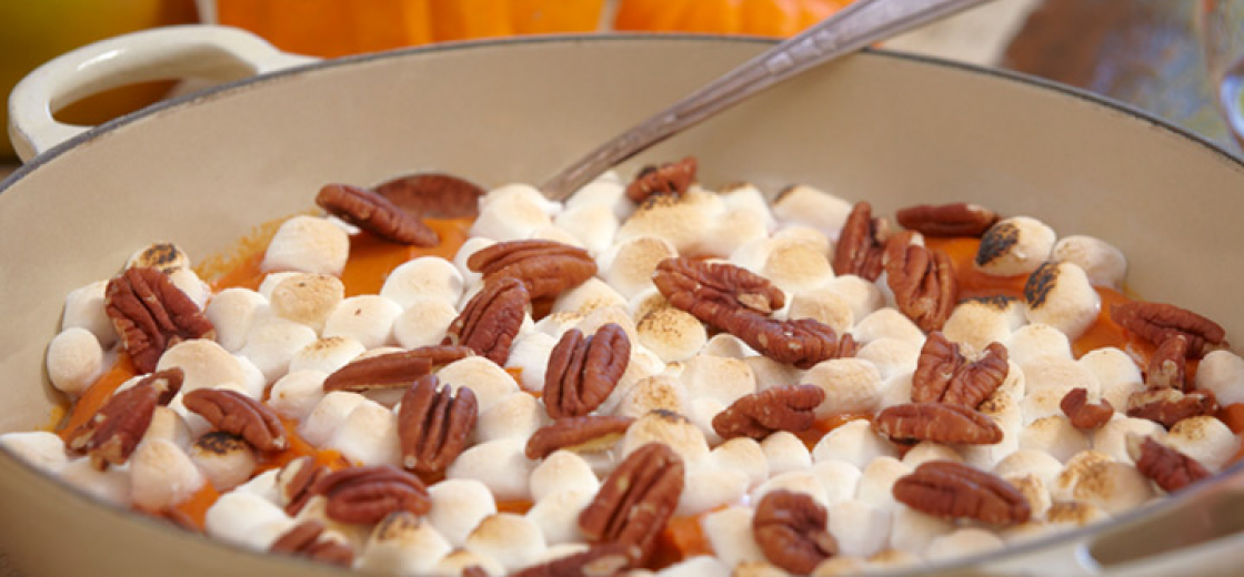 Mashed Sweet Potatoes with Pecans & Marshmallows