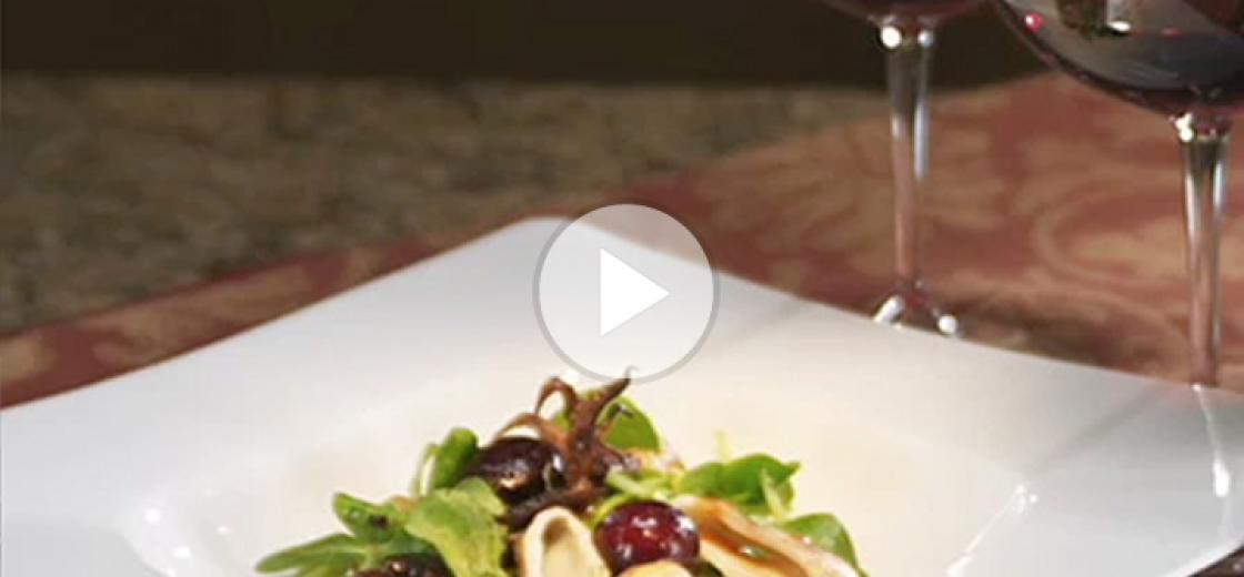Grilled Calamari, Bing Cherry and Mache Salad