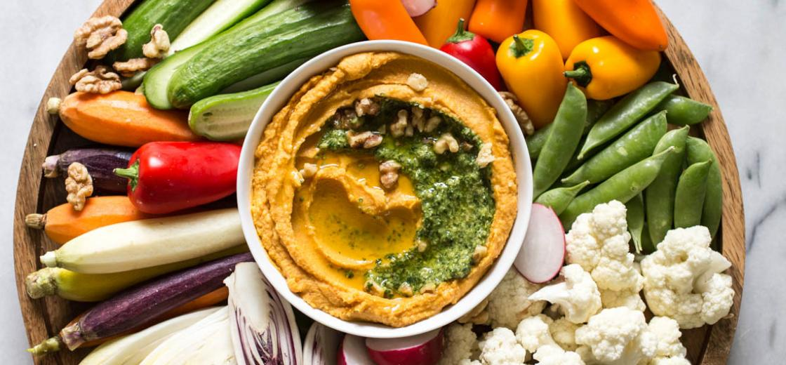 This sweet potato hummus with kale pesto & fall crudités recipe is not only seasonal and delicious, but also simple to pull together.