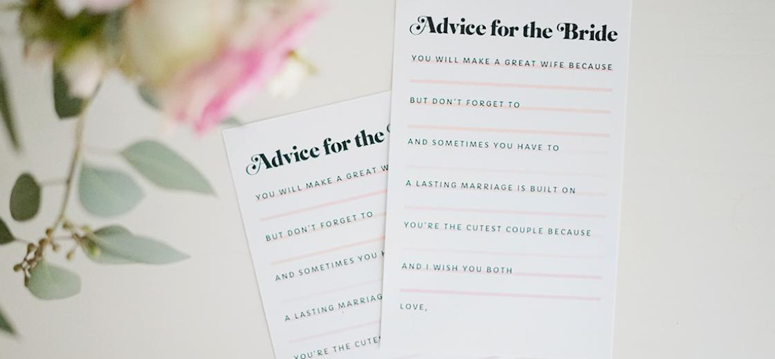 picture relating to Wedding Shower Cards Printable named Printable \u201cAdvice for the Bride\u201d Bridal Shower Playing cards