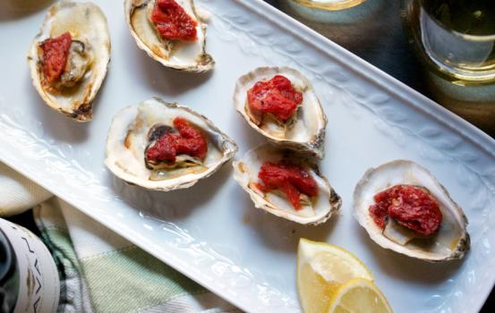 Baked Oysters with Roasted Tomatoes