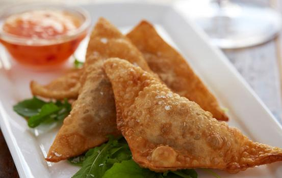 Rangoons are a mixture of fresh crabmeat, cream cheese, scallion and fresh ginger all wrapped up in a wonton wrapper and deep fried. Depending on what you add into the mix or serve with the rangoons can point you towards the best wine pairings.