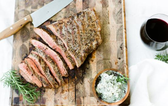 We break down how to perfectly prepare a delicious skirt steak and how to masterfully plate it with our blue cheese butter and garnish on top. This divine pairing brings out the rich flavors of the steak by letting the bite of the blue cheese butter melt in and mélange the flavors perfectly! #recipe