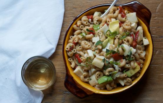 Whole Wheat Elbow Pasta Salad with Hearts of Palm, Avocado, and Red Peppers