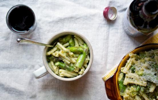 Gemelli with Green Garlic, Asparagus & Parsley Pesto