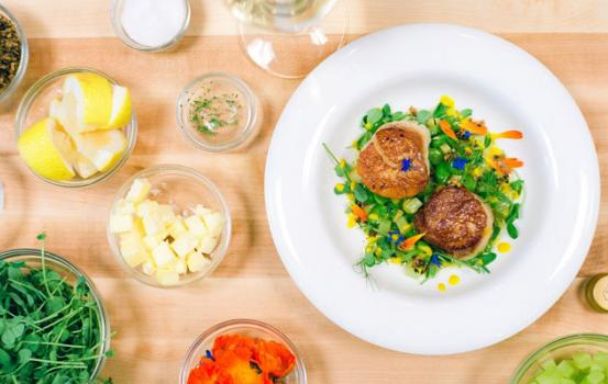 Seared Scallops with Carrot, Celtuce, Favas and Savory Granola