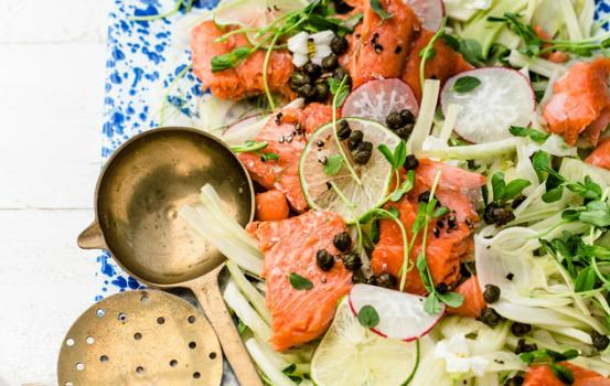 As long as you have some super fresh wild salmon and a few fresh ingredients you can whip this salad in less time that it takes you to get dressed for the pool.