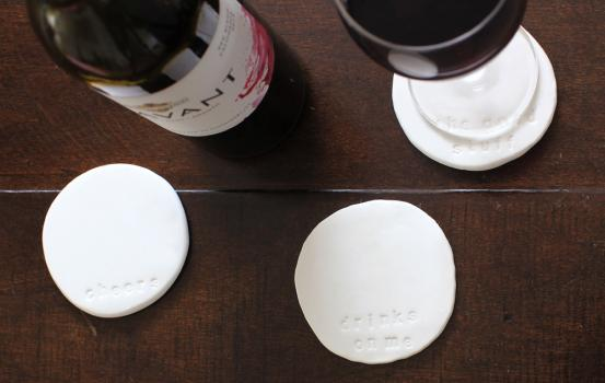 These #DIY Stamped Clay Coasters are a great project to make with a bunch of girlfriends--they're simple and pretty, don't require any special skills, and the results are instantly gratifying!