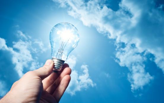 Lightbulb in the light