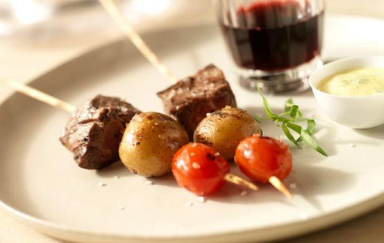 Grilled Beef Tenderloin and Heirloom Tomato Skewers