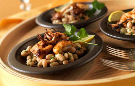 Paprika-Spiced Grilled Calamari with Cannellini Beans