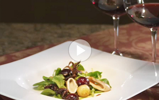 Grilled Calamari, Bing Cherry and Mache Salad