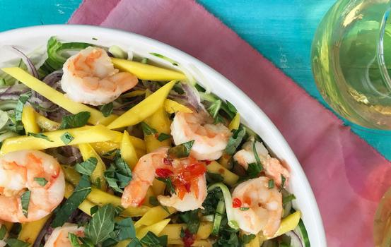 This cucumber mango shrimp salad combines so many fresh summer flavors and colors that it's sure to be a hit with your family or guests.