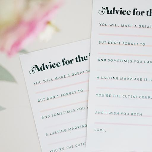 photo relating to Printable Bridal Shower Cards identify Printable \u201cAdvice for the Bride\u201d Bridal Shower Playing cards