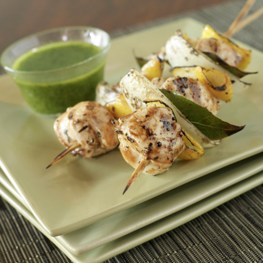 Lemon-Chicken Kebabs with Moroccan Herb Sauce