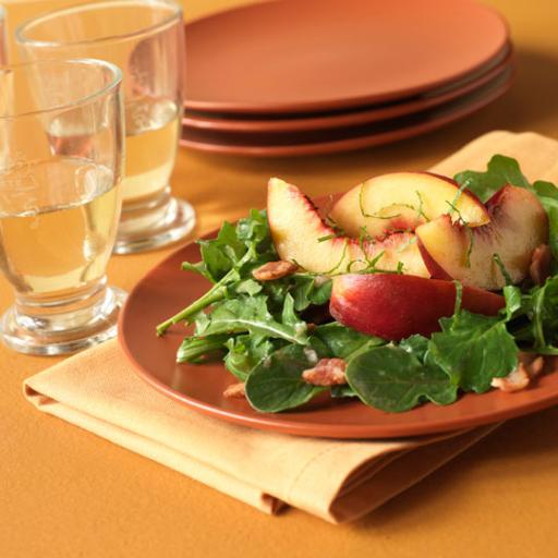 Peach Salad with Arugula, Bacon and Basil