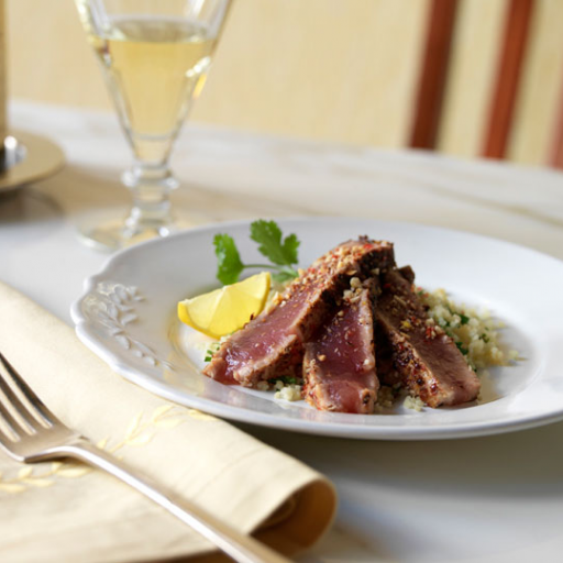 Seared Tuna with Hazelnuts & Couscous