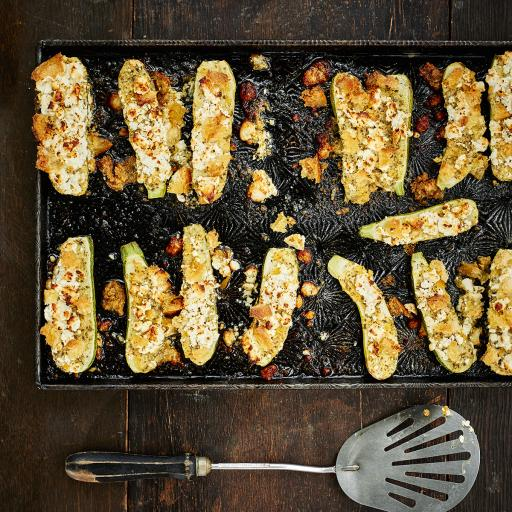Baked Zucchini with Feta, Preserved Lemon Butter & Crispy Bread