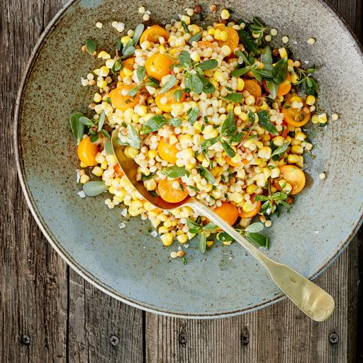 Corn, Fregula & Sun Gold Tomato Salad