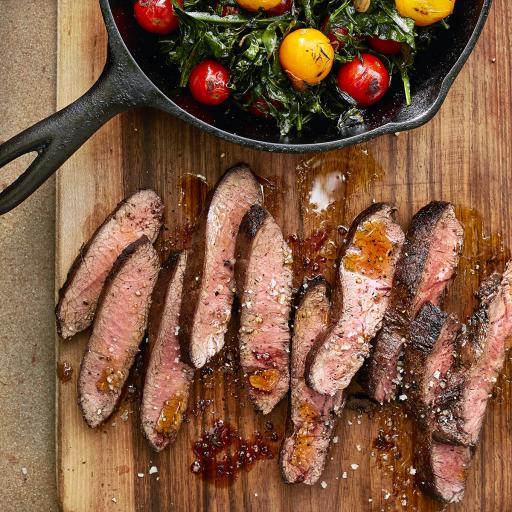 Seared Flat Iron Steak with Spigarello & Cherry Tomatoes